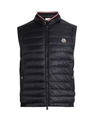 Moncler Maglia Cotton Jersey And Nylon Down Gilet Navy