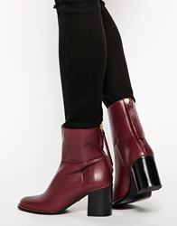 Whistles Grace Zip Back Oxblood Mid Heeled Boots