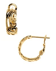 Lord And Taylor Filigree Cuff Hoop Earrings Gold