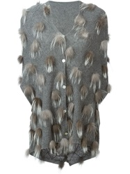 Liska Fox Fur Pompom Cardigan Grey