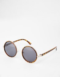 Asos Round Sunglasses In Tort And Gold Tort Brown