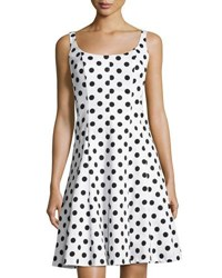 Chetta B Scoop Neck Polka Dot A Line Dress White Black
