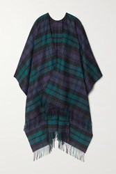 Johnstons Of Elgin Fringed Checked Cashmere Wrap Navy