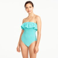J.Crew Gingham Ruffle Bandeau One Piece Swimsuit