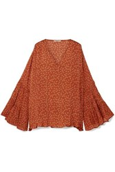 Mes Demoiselles Fiorella Floral Print Silk Satin Crepe Blouse Bright Orange
