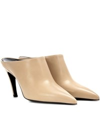 Balenciaga Pointy Pump Leather Mules Beige