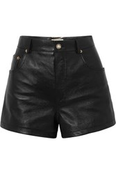 Saint Laurent Embellished Leather Shorts Black