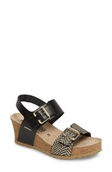 Mephisto Lissandra Platform Wedge Sandal Black Gold Leather