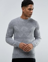 Celio Knitted Jumper With Chunky Pattern Detail Light Grey