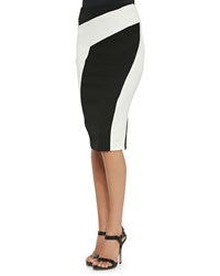 Donna Karan Pull On Pencil Collage Skirt Black Ivory