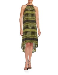 Kensie Printed Hi Lo Dress Green