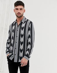 Bershka Printed Shirt In Black And White Black