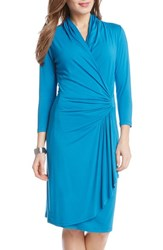 Women's Karen Kane Cascade Faux Wrap Dress Teal