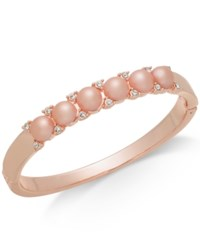 Charter Club Rose Gold Tone Pave And Imitation Pearl Bangle Bracelet Created For Macy's Rose Cry P
