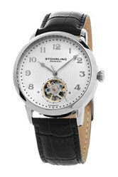 Stuhrling Men's Perennial 781 Automatic Alligator Embossed Genuine Leather Watch Gray