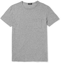Theory Perrey Slim Fit Melange Pima Cotton Jersey T Shirt Gray