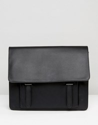 Asos Smart Satchel In Black Faux Leather With Front Pocket Black