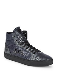 John Galliano Hi Top Leather Logo Sneakers Blue