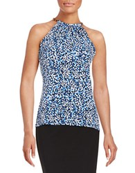 Michael Michael Kors Flowers And Leather Halter Top Crew Blue