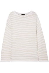 Theory Open Knit Cotton Blend Sweater White