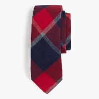 J.Crew The Hill Side Brushed Flannel Point Tie In Wide Check
