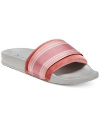 Inc International Concepts I.N.C. Microvelour Varsity Slide Slippers Mauve Burgundy Stripe
