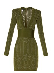 Balmain V Neck Lace Knit Dress Green