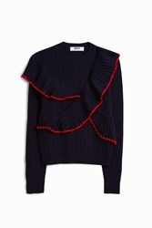 Msgm Red Ruffled Knit Jumper Navy