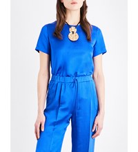 Max Mara Textured Pure Silk Top Cornflower Blue