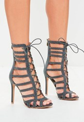 Missguided Grey Calf Height Lace Up Gladiator Heels