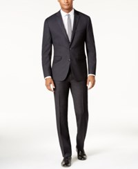 Vince Camuto Men's Slim Fit Black Tonal Grid Suit