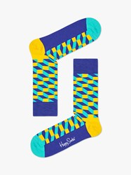 Happy Socks Filled Optic Print One Size Turquoise Yellow