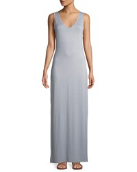 Three Dots V Neck Striped Maxi Dress Gray