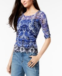 Inc International Concepts I.N.C. Printed Mesh Top Created For Macy's Blue Midnight Paisley