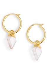 Missoma Mini Shield Hoop Earrings Rose Quartz Gold