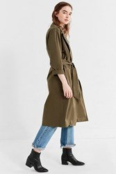 Urban Outfitters Uo Classic Trench Coat Dark Green