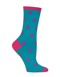 Hot Sox Large Polka Dot Crew Socks Teal