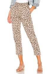Monrow Leopard Fray Patch Pockets Pant Brown