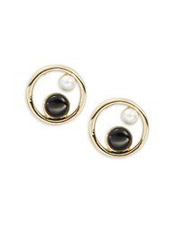 Nanette Lepore Stone Accented Circle Stud Earrings Black