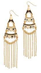 Adia Kibur Stella Chandelier Earrings Black Gold