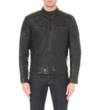 Superdry Leading Leather Racer Jacket Black
