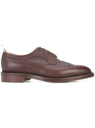 Thom Browne Classic Long Wingtip Brogue In Brown Pebble Grain Leather