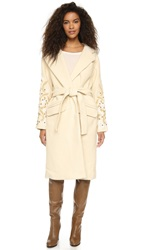 Free People Cozy Belted Embroidered Wrap Coat Ivory