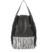 Polo Ralph Lauren Fringed Leather Tote Black