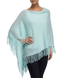 Minnie Rose Cashmere Cowl Neck Fringe Poncho Fountainbl