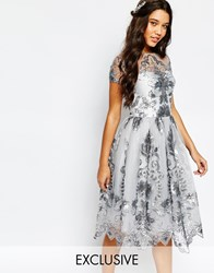 Chi Chi London Midi Prom Dress With Delicate Sequin Grey