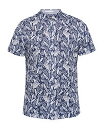 Ted Baker Men's Loyaal Leaf And Bird Print Cotton Shirt Navy