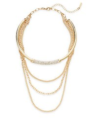 Saks Fifth Avenue Multi Strand Chain Choker Necklace Gold