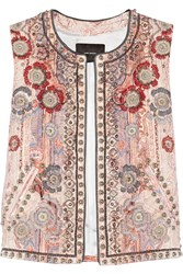 Isabel Marant Jungle Embellished Cotton Blend Vest Pink
