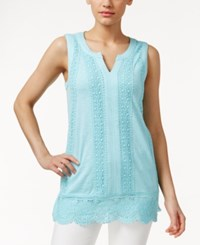 Charter Club Sleeveless Crochet Trim Top Only At Macy's Angel Blue
